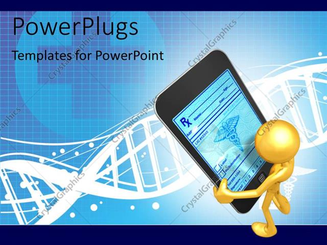 PowerPoint Template Displaying Humanoid Serching Medical Information on Smart Phone with Medical Symbol and DNA in Background