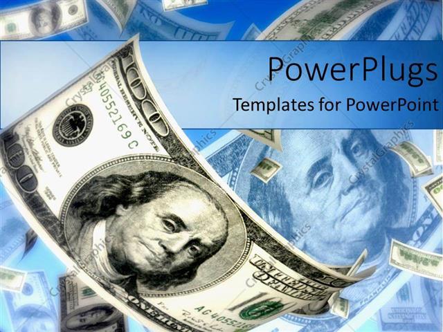 powerpoint template hundred dollar bills flying in air metaphor