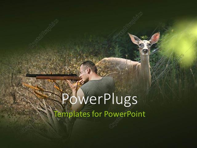 Powerpoint template a hunter and a deer with jungle in background powerpoint template displaying a hunter and a deer with jungle in background toneelgroepblik Choice Image