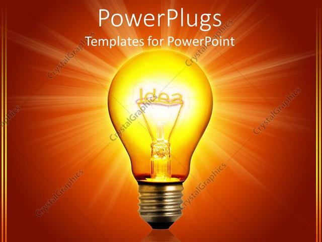 Powerpoint Template Idea Light Bulb Glowing Orange Background 16952