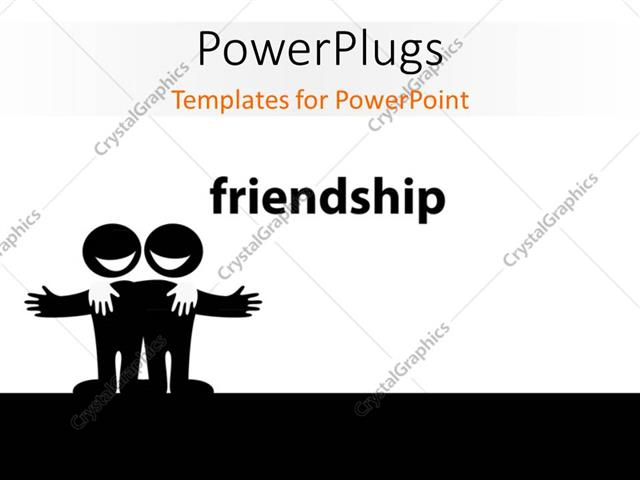 Powerpoint Template Illustration Of Two Best Friends Symbol Of