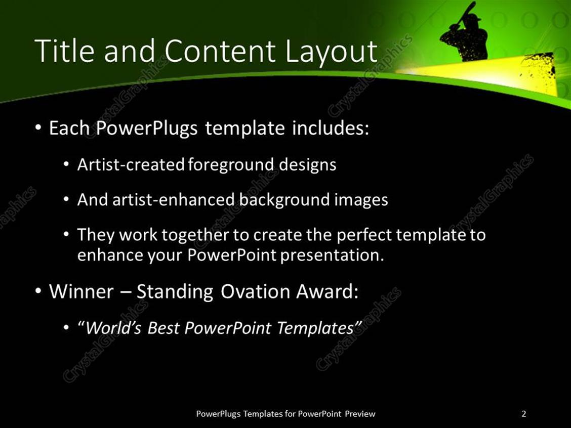 Powerpoint template an image of a baseball player holding up a bat powerpoint products templates secure standing ovation award toneelgroepblik Image collections