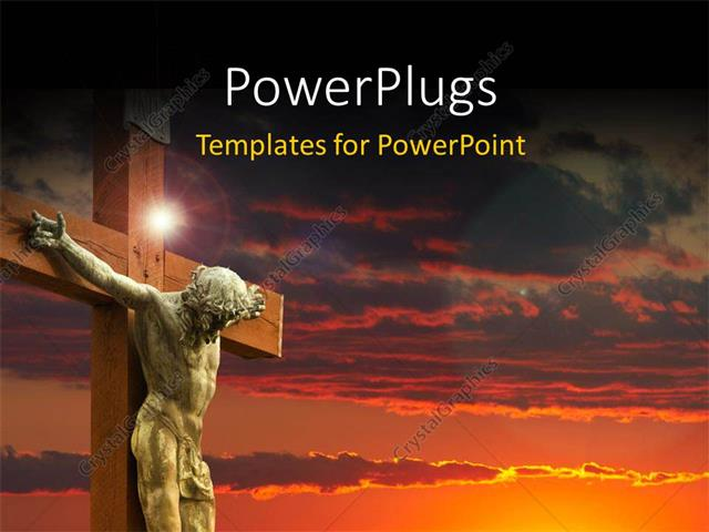 PowerPoint Template Displaying an Image of Jesus Christ in White on a Sunset Background