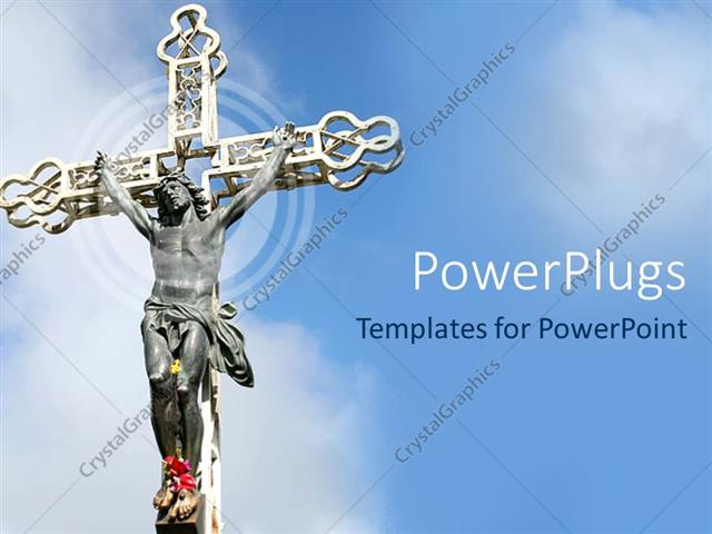 Powerpoint Template Image Of Jesus Nailed To A Cross With Clear