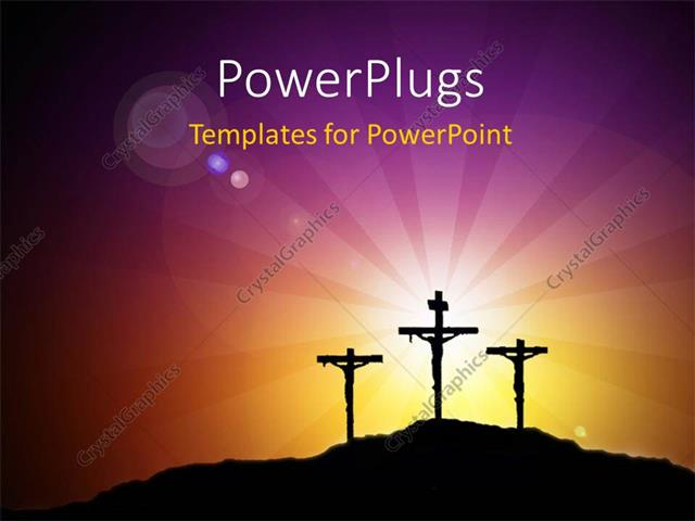 PowerPoint Template Displaying Images of Crucifix with a Shinning Bright Light Behind