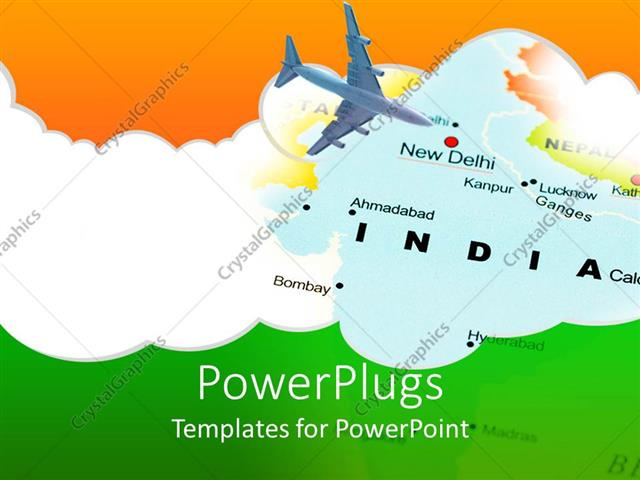Powerpoint template india new dehli air travel map with airplane powerpoint template displaying india new dehli air travel map with airplane and indian flag colors toneelgroepblik Images