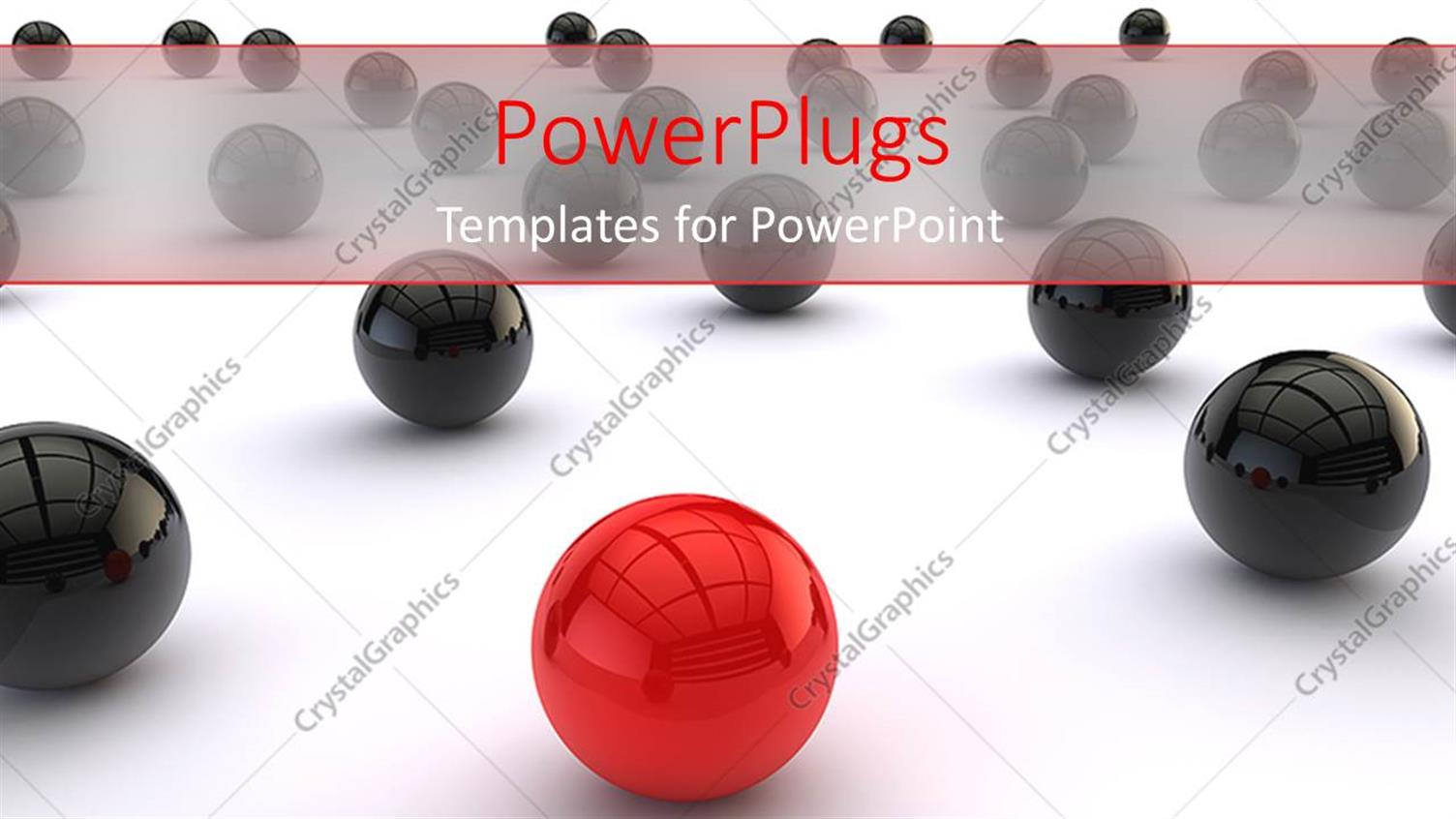 PowerPoint Template Displaying Distinct Red Ball among Black Balls on White Background