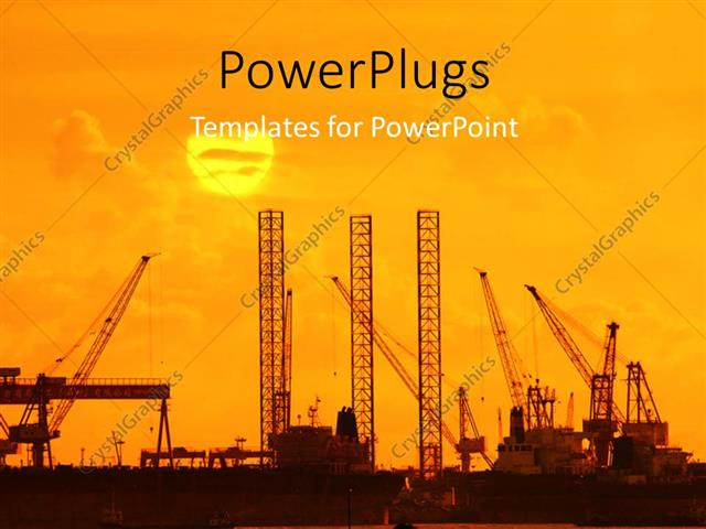 powerpoint template industrial plants with cranes and sunset on