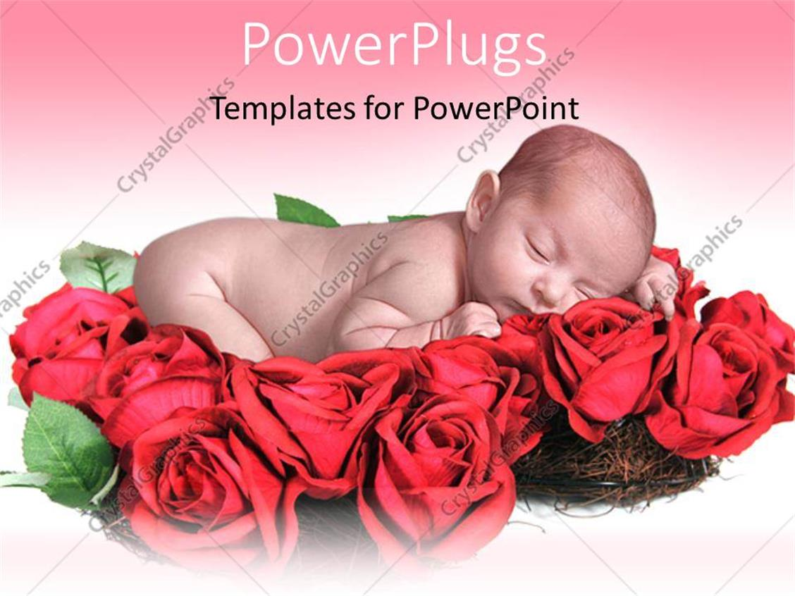 PowerPoint Template Displaying Innocent Looking Baby Sleeping on Lots of Red Roses