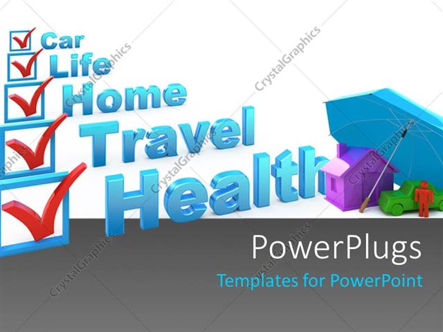 Powerpoint template insurance concept with a check list of powerpoint template displaying insurance concept with a check list of various insurances as health travel toneelgroepblik Gallery