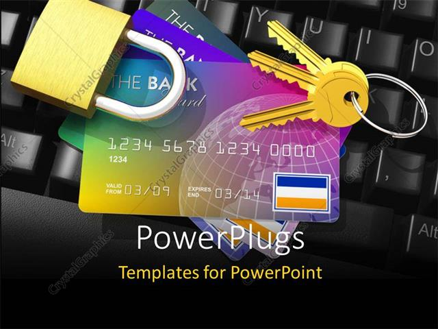 Powerpoint template internet banking security depiction with credit powerpoint template displaying internet banking security depiction with credit cards key and padlock on toneelgroepblik Gallery