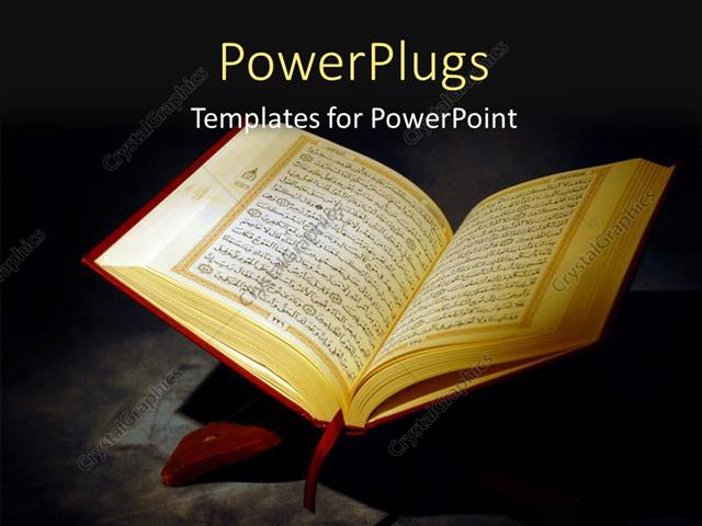 Powerpoint template islamic holy quran depiction with arabic text powerpoint template displaying islamic holy quran depiction with arabic text over a dark background toneelgroepblik Images
