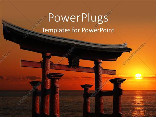 Powerpoint Template Japanese Temple Gate To Miyajima Shrine Looking