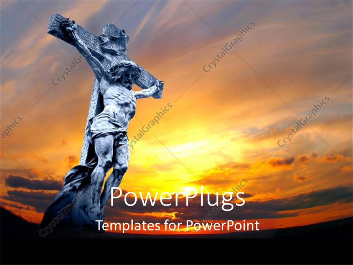 PowerPoint Template Displaying Jesus Being Crucified with Sunset in Background