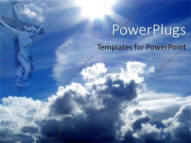 Powerpoint Template Jesus On Cross With Blue Sky And Clouds