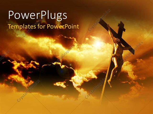 PowerPoint Template Displaying Jesus on the Holy Cross with Clouds in the Background