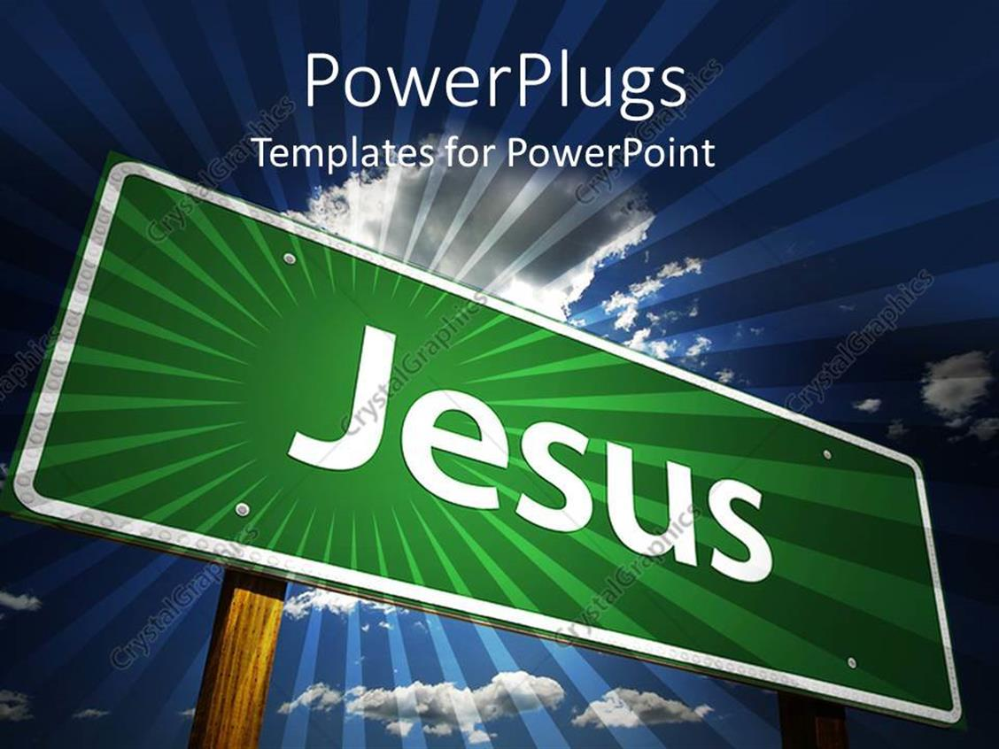 PowerPoint Template Displaying Jesus Street Sign on Blue Sky Background