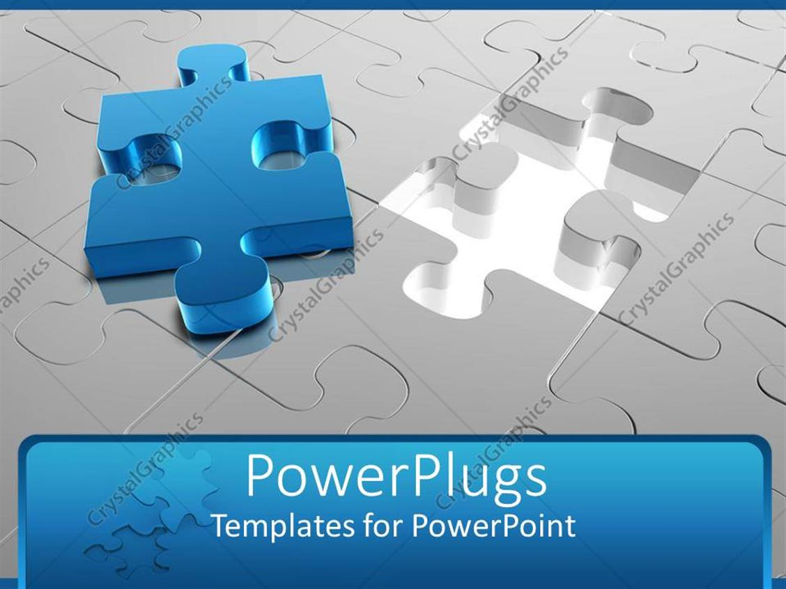 PowerPoint Template: jigsaw puzzle with missing piece placed on top ...
