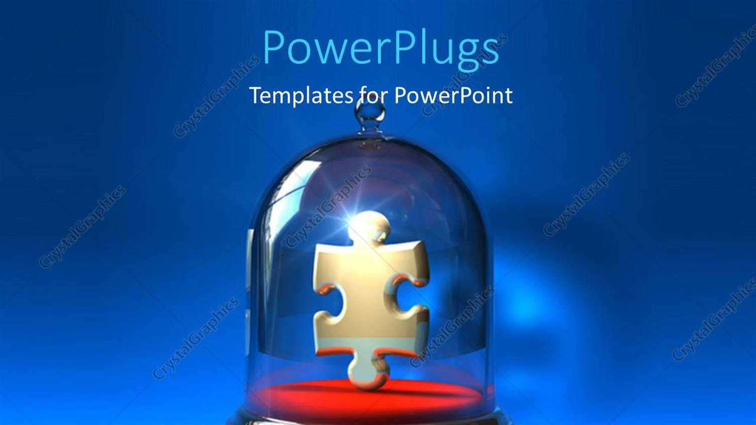 PowerPoint Template Displaying Jigsaw Puzzle Piece in Precision Container Over Blue Background