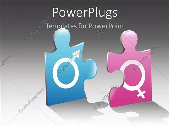 Powerpoint template jigsaw puzzle pieces with male and female powerpoint template displaying jigsaw puzzle pieces with male and female gender symbols engraved on it toneelgroepblik Choice Image