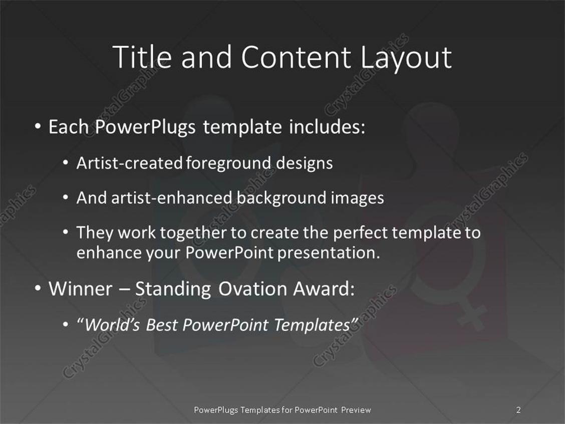PowerPoint Template: Jigsaw puzzle pieces with male and female ...