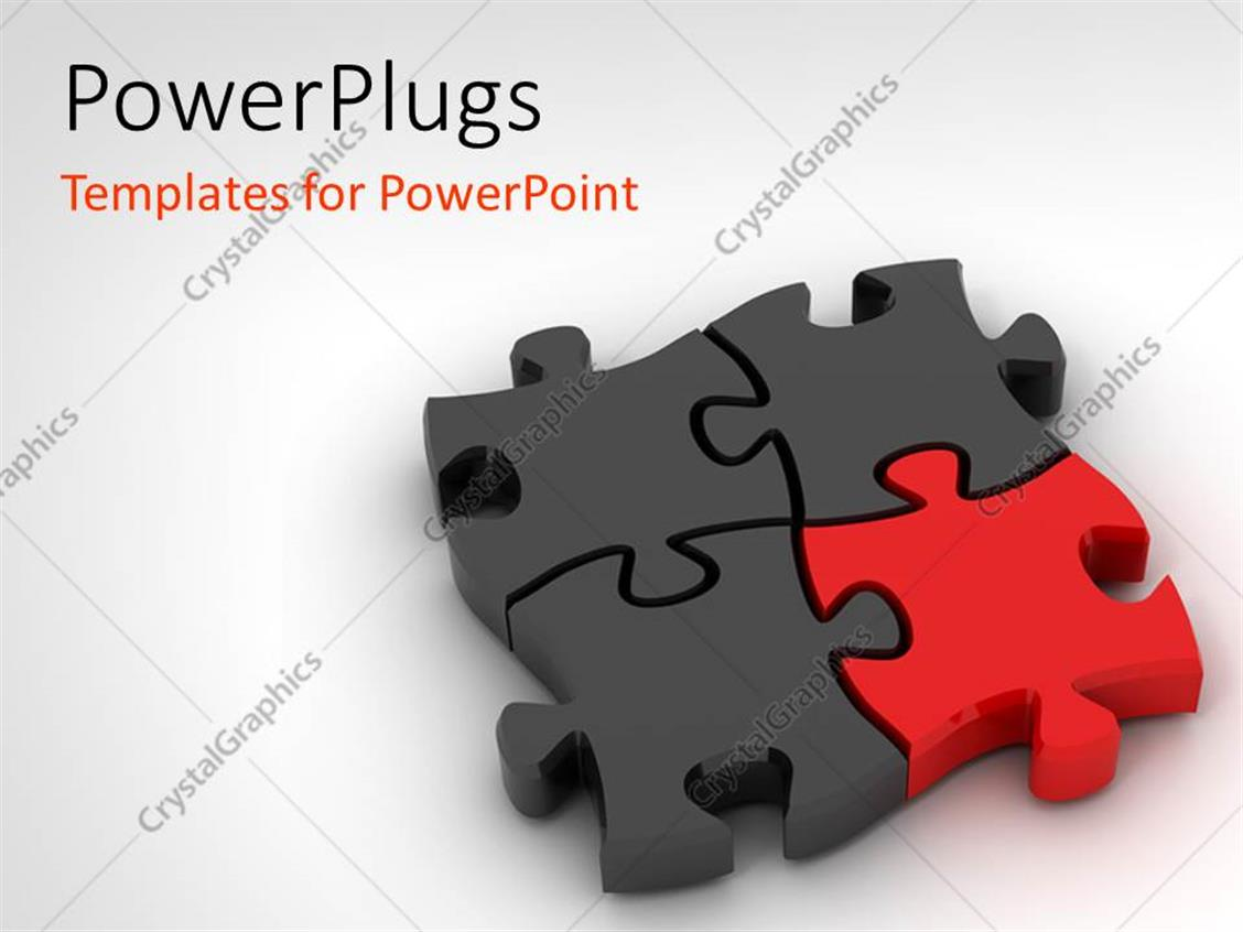 PowerPoint Template: Jigsaw puzzle on white background with distinct ...