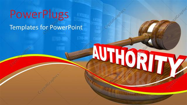 PowerPoint Template Displaying Authority Depiction with Hammer, Gavel and Law Books in Background