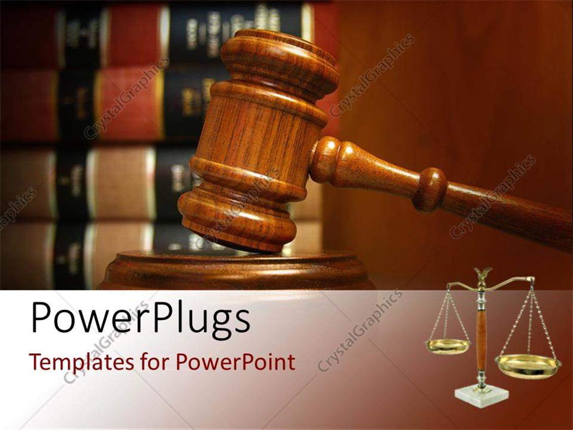 PowerPoint Template Displaying Judges Gavel and Balance with Law Books Stacked Behind