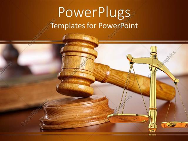 Powerpoint Template A Judges Wooden Gravel And A Justice Balance