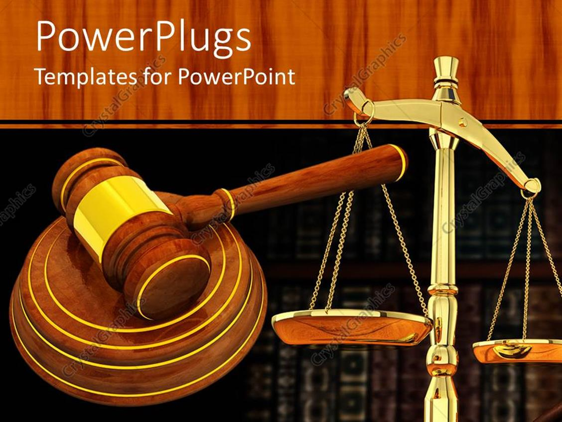 PowerPoint Template Displaying a Judges Wooden Gravel and a Justice Balance Scale