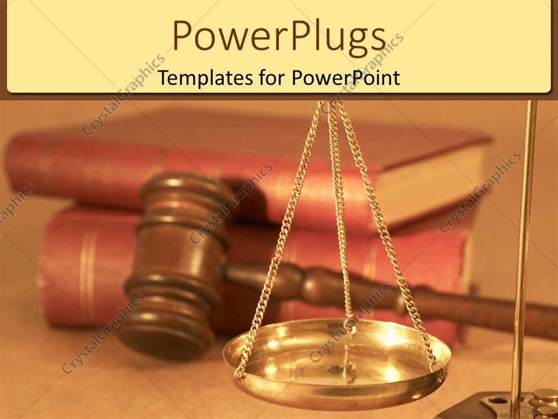 PowerPoint Template Displaying Justice and Legal Metaphor with Scales, Gavel and Red Books