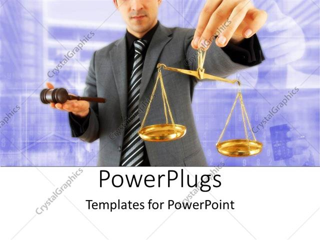 PowerPoint Template Displaying Justice, Legal Theme with Man in Suit Holding Gavel and Gold Scale