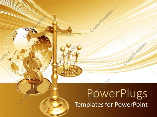 PowerPoint Template: a justice scale with an earth globe at the