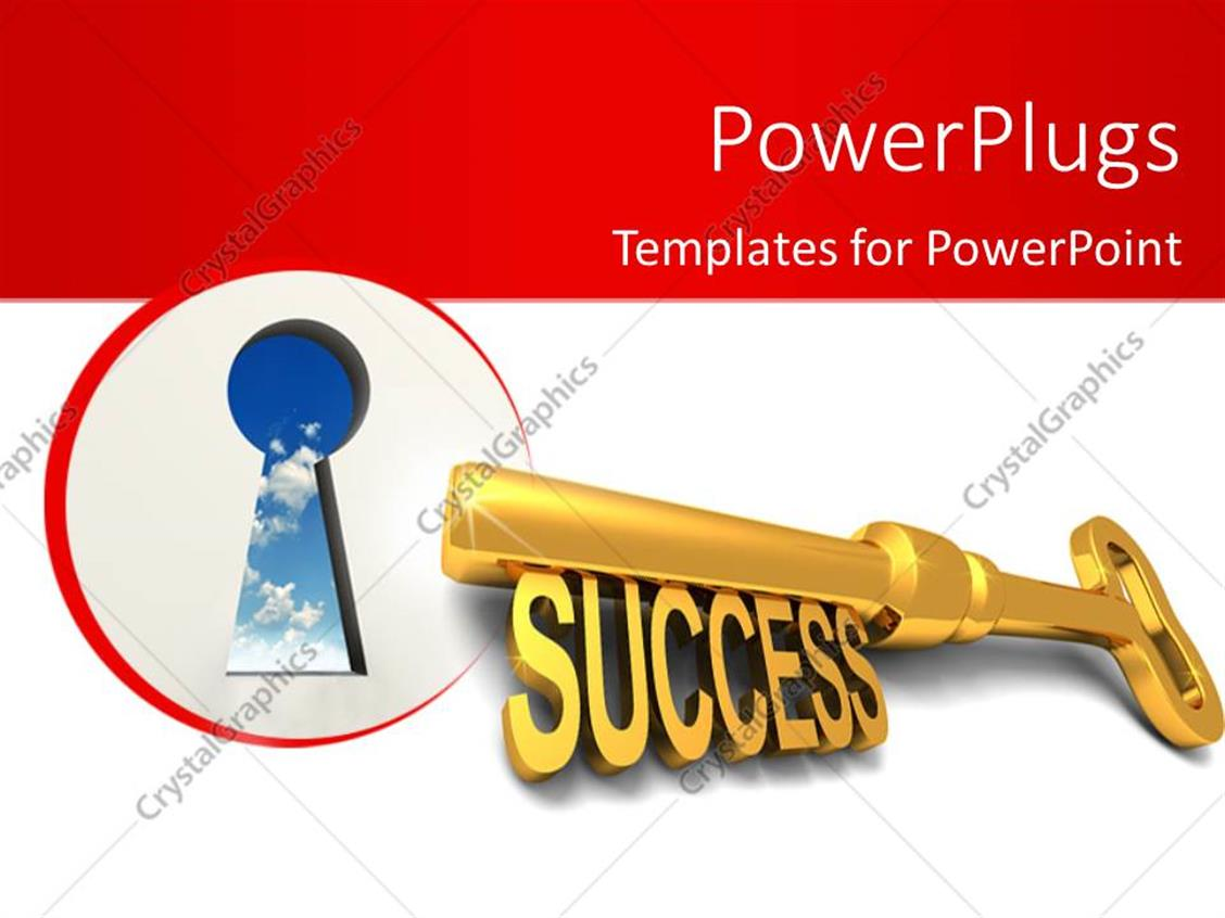 PowerPoint Template Displaying a Key Hole and a Golden Key with a Text that Spells Out the Word