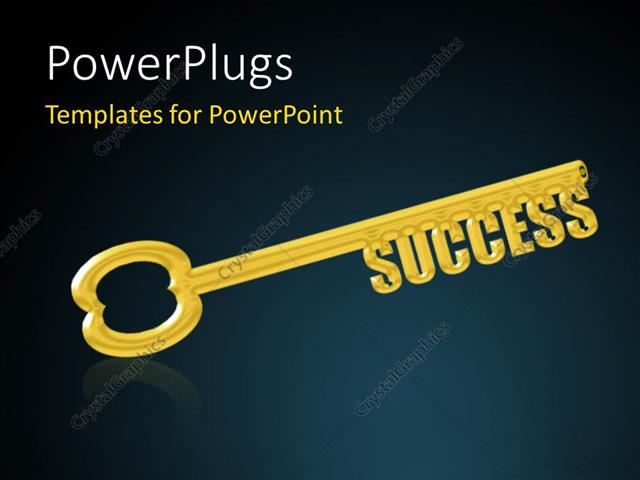 PowerPoint Template Displaying Key to Success, a Gold Key with the Word Success