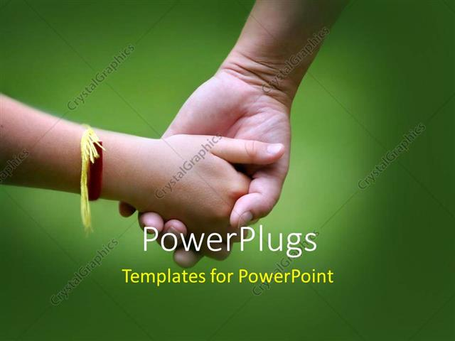 PowerPoint Template Displaying a Kid Holding the Hand of her Brother with Greenish Background