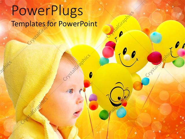 PowerPoint Template Displaying a Kid with a Number of Balloons in the Background