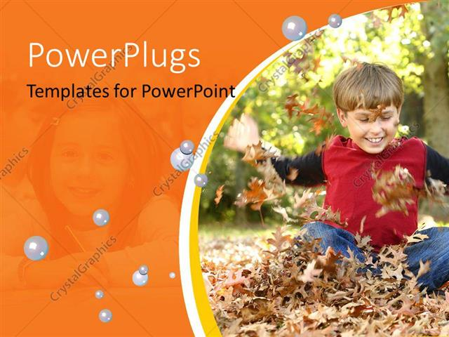 PowerPoint Template Displaying a Kid Playing with the Leaves
