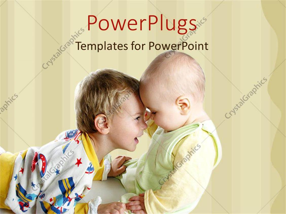 PowerPoint Template Displaying a Kid Playing with his Younger Brother