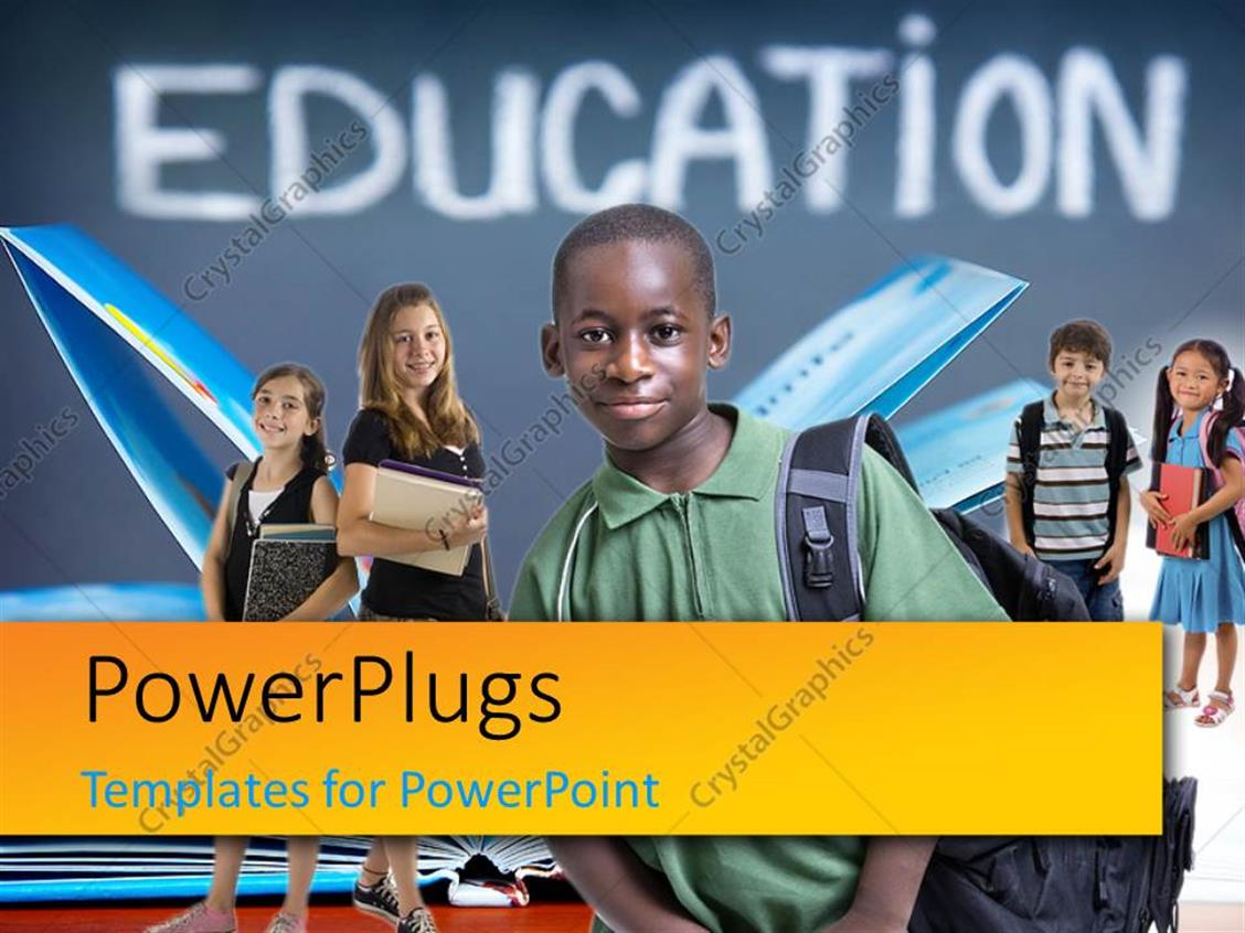 PowerPoint Template Displaying Kids Carrying School Back Packs Dressed for School