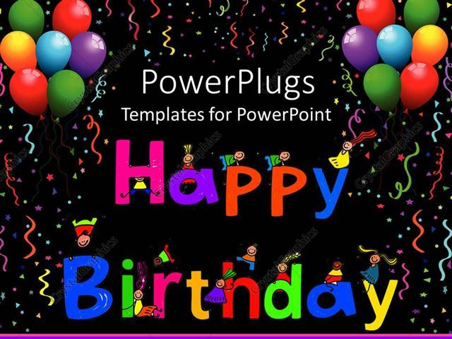 Powerpoint Template Kids Climbing Happy Birthday Letters