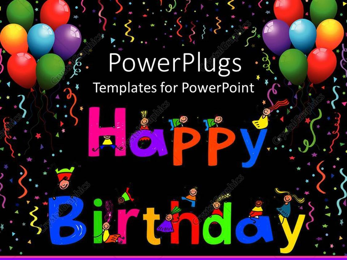 Powerpoint Template Kids Climbing Happy Birthday Letters With