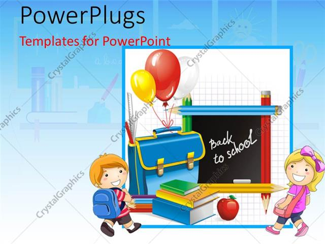 powerpoint template kids going to school with a number of pencils