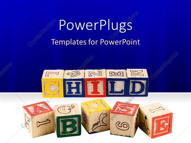powerpoint template kids learning blocks spelling out the words
