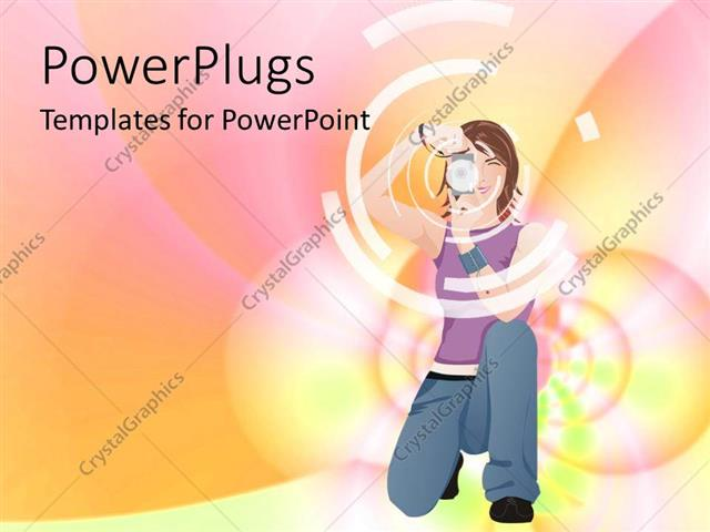 Powerpoint Template Kneeling Girl With Camera In Front Of Pastel