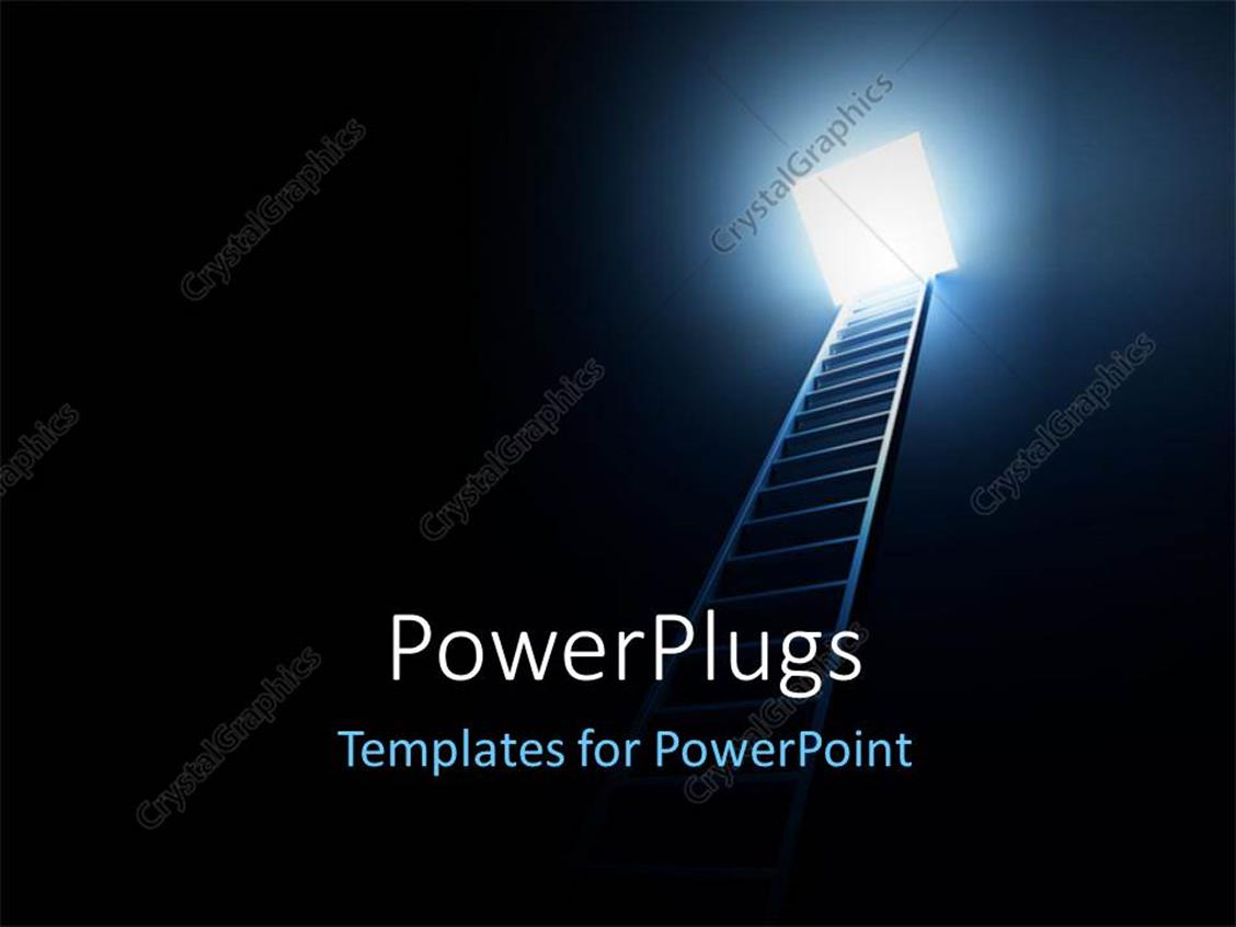 Powerpoint Template A Ladder With A Light At The Top Of It 17737
