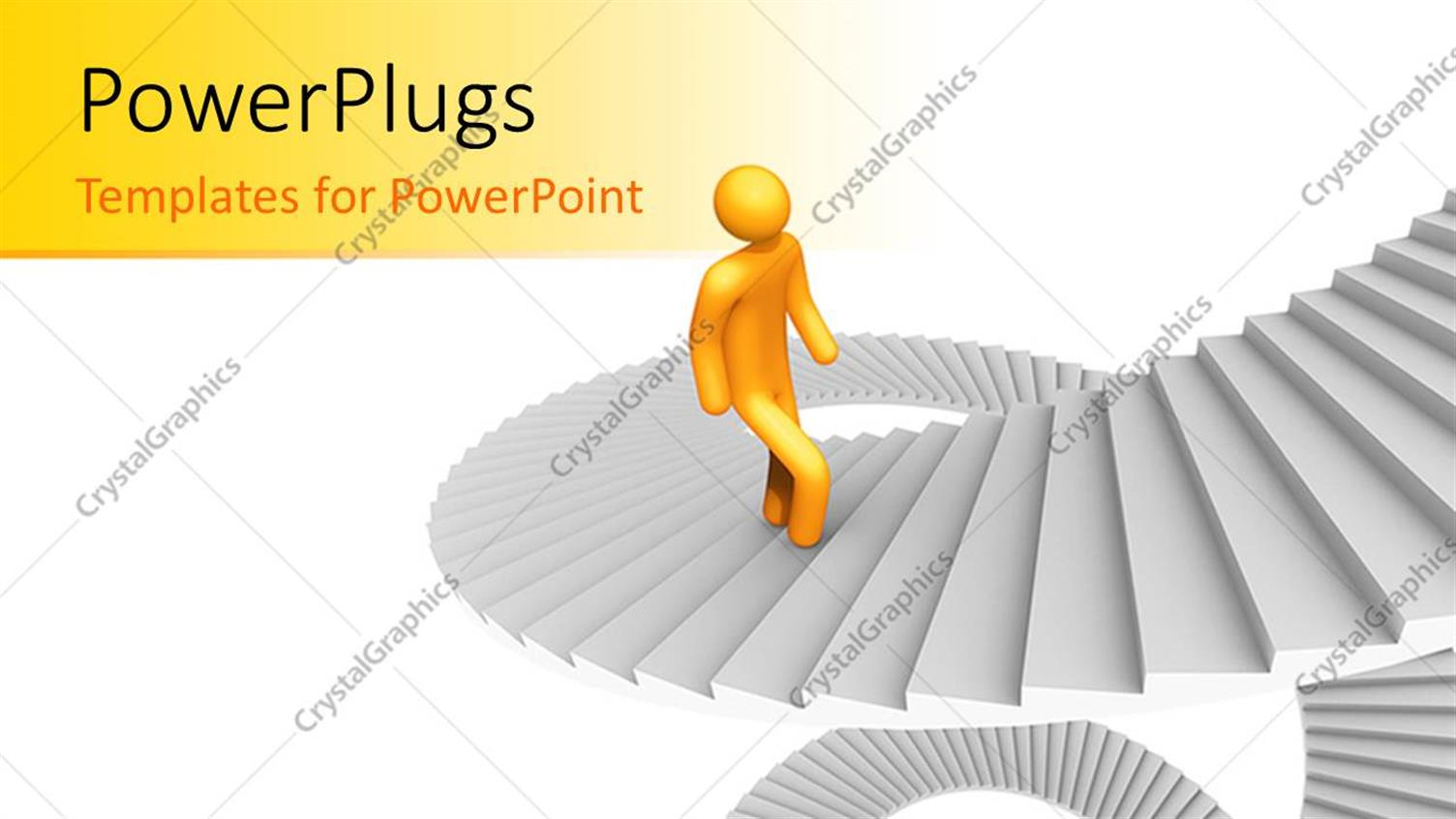 PowerPoint Template Displaying Yellow 3D Man Climbs Spiral Stairs on White Background
