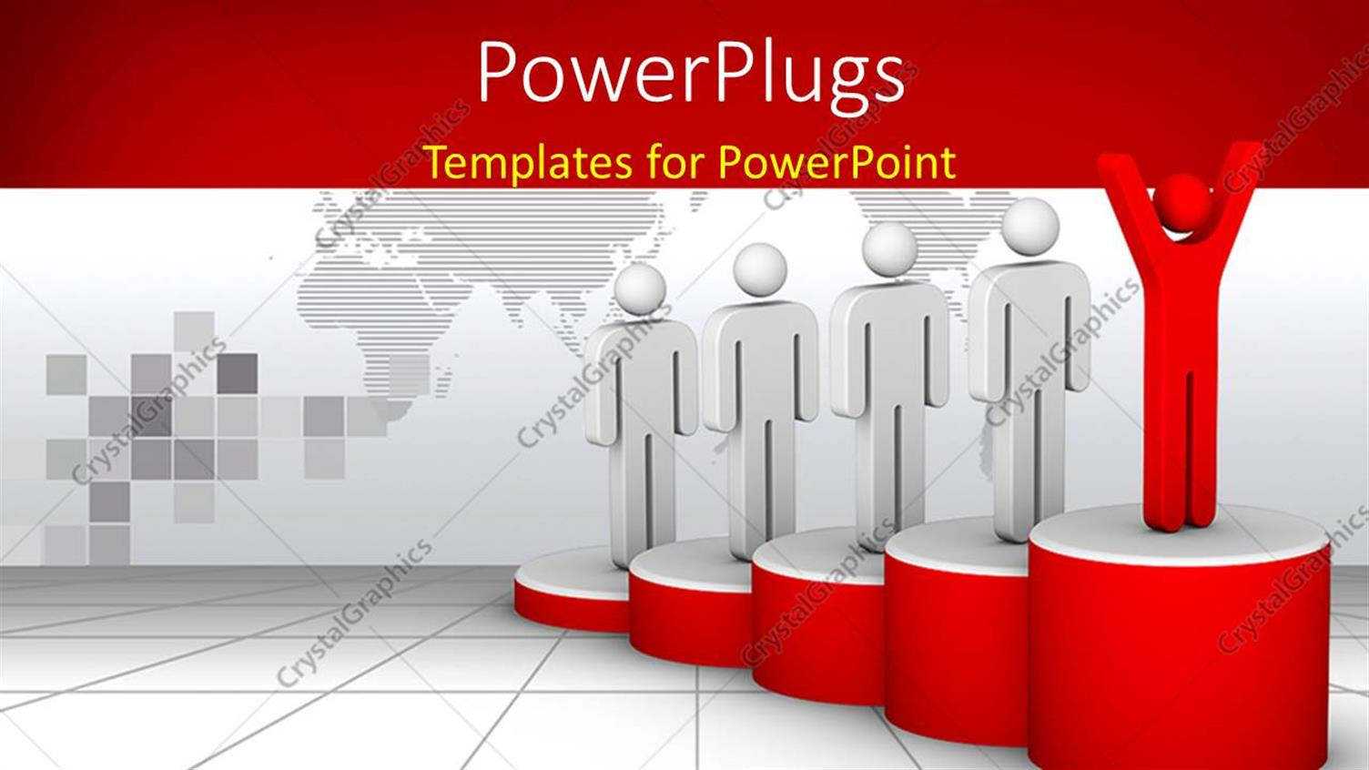 PowerPoint Template Displaying Four White Colored 3D Characters with a Leading Red One