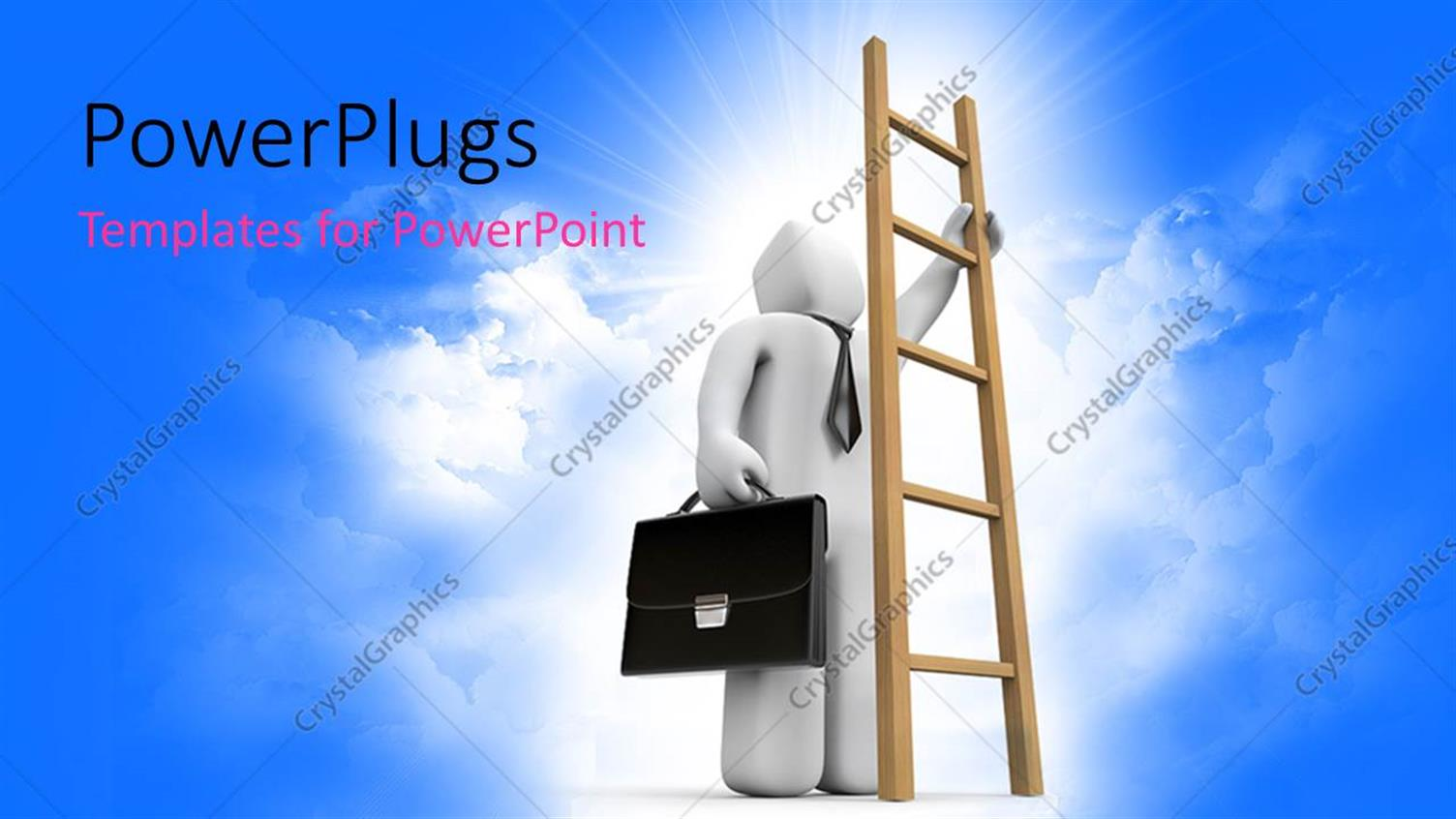 PowerPoint Template Displaying a Bluish Background with a Person and a Ladder