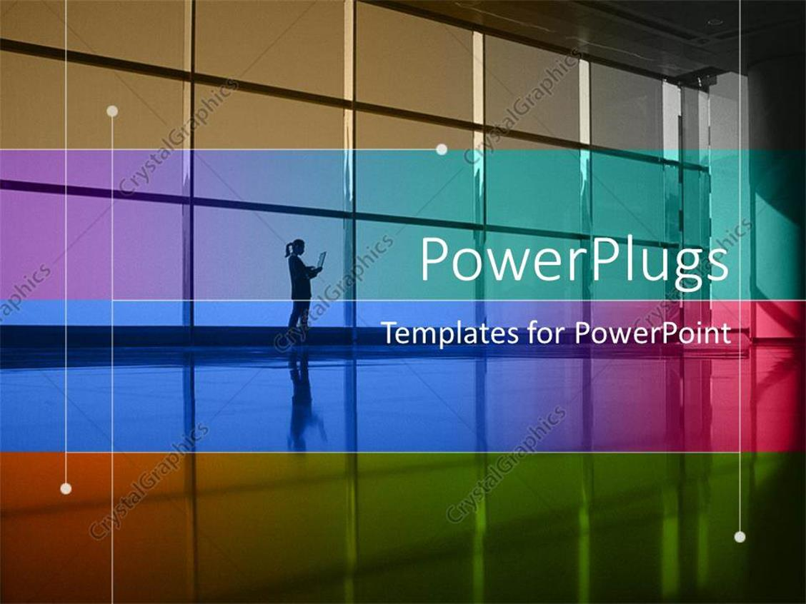 PowerPoint Template Displaying a Lady Working on a Laptop in a Building